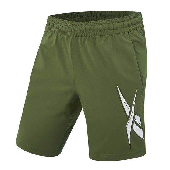 Reebok Mens Workout Ready Woven Graphic Training Shorts, Green, rebel_hi-res