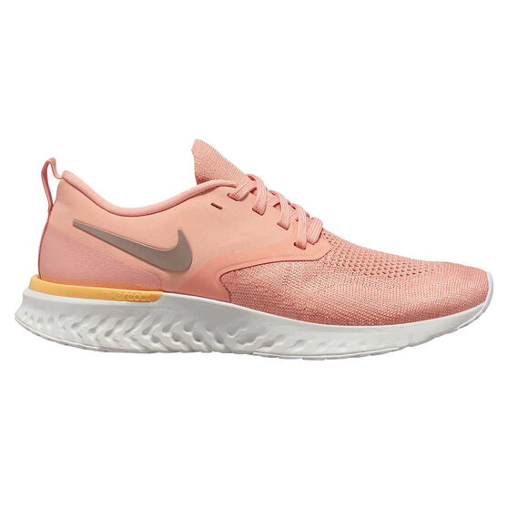 Nike Odyssey React Flyknit 2 Womens Running Shoes, Pink / White, rebel_hi-res
