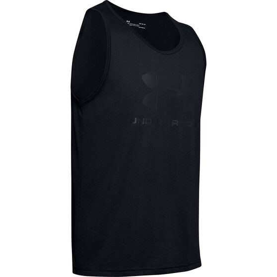 Under Armour Mens Sportstyle Logo Tank, Black, rebel_hi-res