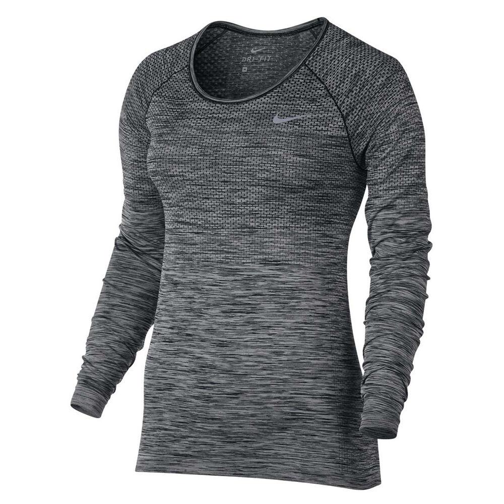 1450f766 Nike Womens Dri FIT Knit Top Black / Silver XS, Black / Silver, rebel_hi