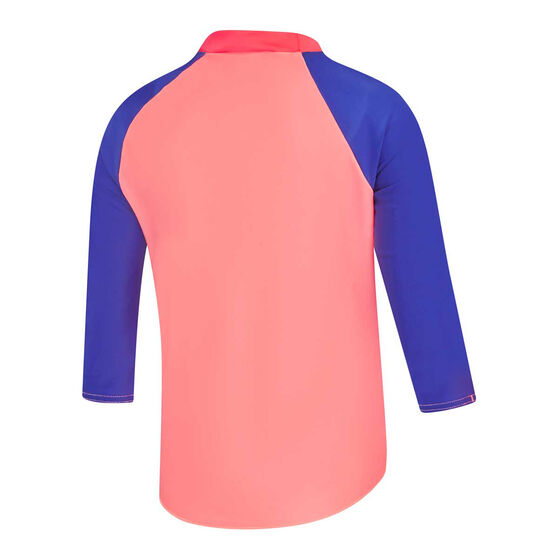 Speedo Girls Leisure Bright Star Rash Vest, Pink/Blue, rebel_hi-res