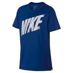 Nike Boys Dri-FIT Short Sleeve Training Tee Blue / White XS, Blue / White, rebel_hi-res