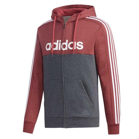adidas Mens Essentials Colourblock Full Zip Hoodie, Red, rebel_hi-res