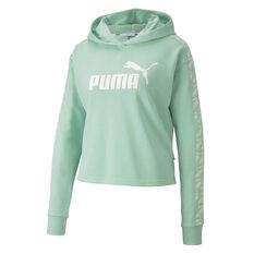 Puma Womens Amplified Cropped Hoodie Green XS, Green, rebel_hi-res
