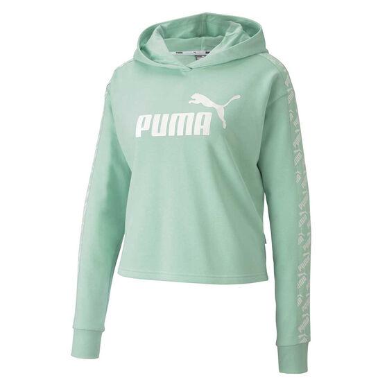 Puma Womens Amplified Cropped Hoodie, Green, rebel_hi-res