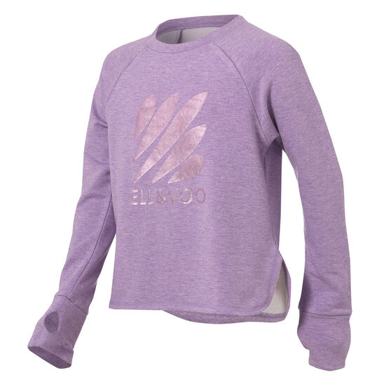 Ell & Voo Girls Amanda LS Relaxed Crew Sweatshirt, Purple, rebel_hi-res