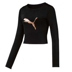 Puma Womens Luxe Crop Top Black XS, Black, rebel_hi-res