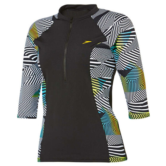 Speedo Womens Half Zip 3 / 4 Sun Top, Print, rebel_hi-res