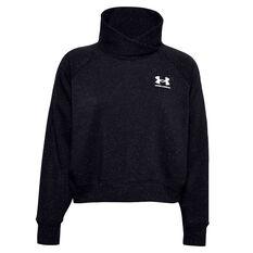 Under Armour Womens Rival Fleece Wrap Neck Sweatshirt Black XS, Black, rebel_hi-res