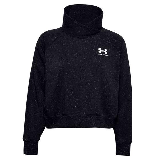 Under Armour Womens Rival Fleece Wrap Neck Sweatshirt, Black, rebel_hi-res