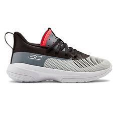 Under Armour Curry 7 Kids Basketball Shoes White / Black US 11, White / Black, rebel_hi-res