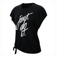 Nike Womens Dri-FIT Side Tie Training Tee Black XS, Black, rebel_hi-res