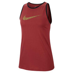 Nike Womens Dri-FIT Glam Dunk Training Tank Rust XS, Rust, rebel_hi-res