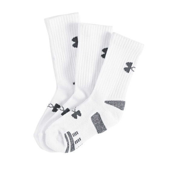 Under Armour Kids HeatGear Crew Socks White, , rebel_hi-res