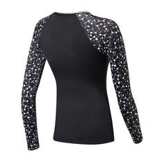 Roxy Womens Fitness PT Long Sleeve Rash Vest Black / Print XS, Black / Print, rebel_hi-res