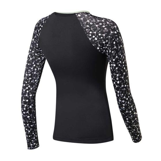 Roxy Womens Fitness PT Long Sleeve Rash Vest, Black / Print, rebel_hi-res