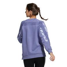 adidas Womens SI Word Crew Sweatshirt Purple XS, Purple, rebel_hi-res