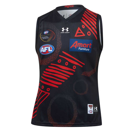 Essendon Bombers 2020 Mens Dreamtime Guernsey, Black/Red, rebel_hi-res
