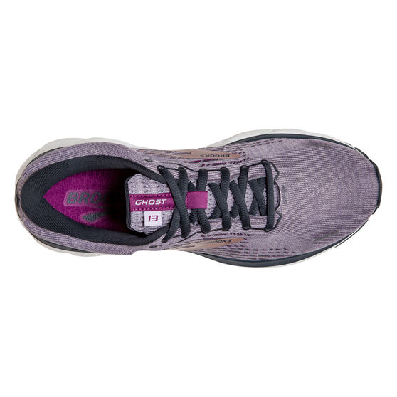 Brooks Ghost 13 Womens Running Shoes, Purple/Silver, rebel_hi-res