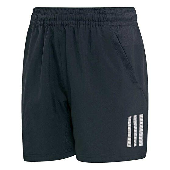 adidas Boys 3-Stripes Tennis Club Shorts, Black / White, rebel_hi-res