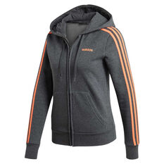 adidas Womens Essentials 3 Stripes Full Zip Hoodie Grey XS, Grey, rebel_hi-res