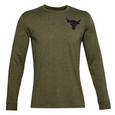 Under Armour Mens Project Rock Hardest Worker Tee Green XS, Green, rebel_hi-res