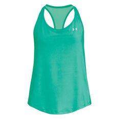 Under Armour Womens HeatGear Mesh Back Tank Green XS, Green, rebel_hi-res