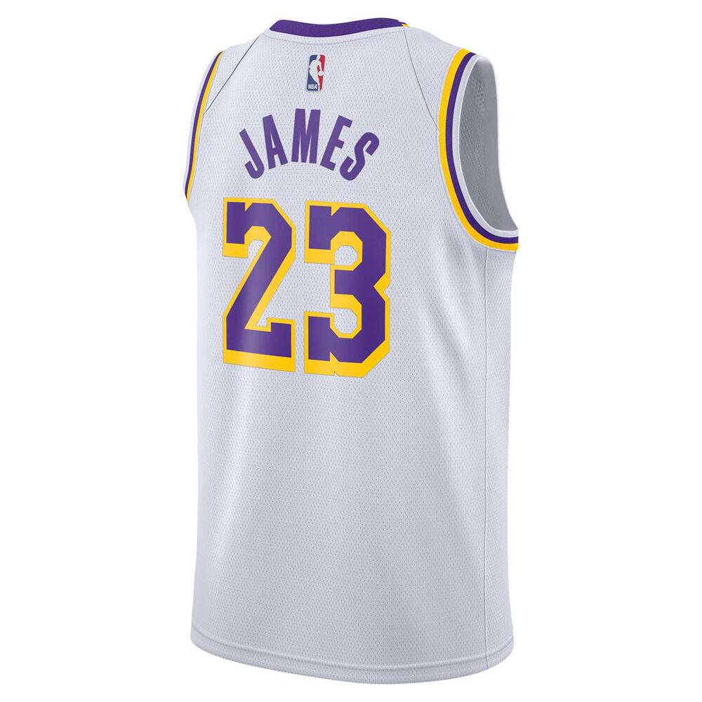 abf9c08ed79 Nike Mens LA Lakers LeBron James 2019 Swingman Jersey White   Purple ...