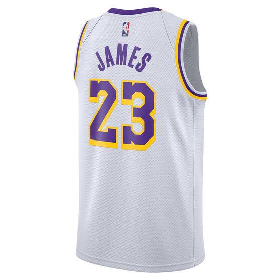best website 958ed 921cc Nike Mens LA Lakers LeBron James 2019 Swingman Jersey White / Purple S