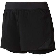 Reebok Womens Workout Ready Knit Woven Shorts Black XS, Black, rebel_hi-res