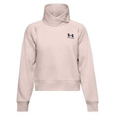 Under Armour Womens Rival Fleece Wrap Neck Sweatshirt Pink XS, Pink, rebel_hi-res