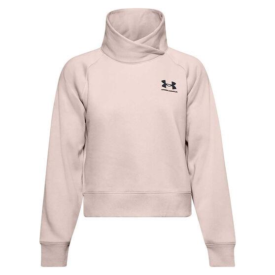 Under Armour Womens Rival Fleece Wrap Neck Sweatshirt, Pink, rebel_hi-res
