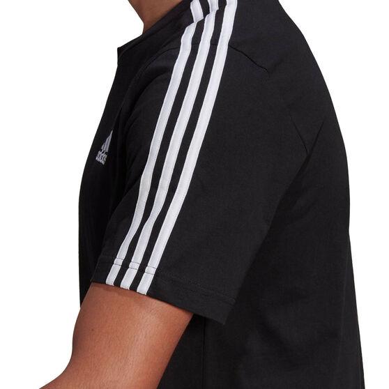 adidas Mens Essentials 3-Stripes Tee, Black, rebel_hi-res