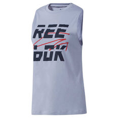 Reebok Womens Meet You There Muscle Tank Blue XS, Blue, rebel_hi-res