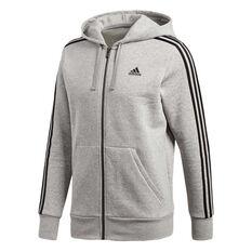adidas Mens Essentials 3 Stripes Full Zip Hoodie Grey / Black S, Grey / Black, rebel_hi-res