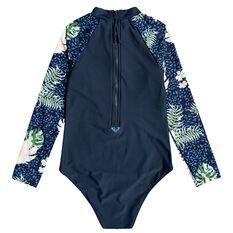 Roxy Girls Long Sleeve Floral Onsie Navy 8, Navy, rebel_hi-res