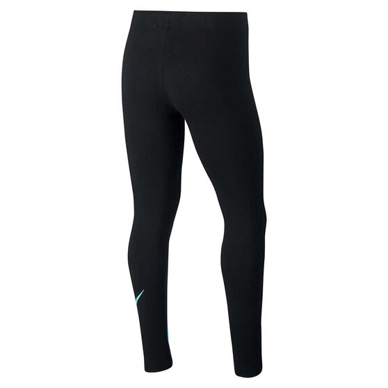 Nike Girls Favourite Leggings, Black / White, rebel_hi-res