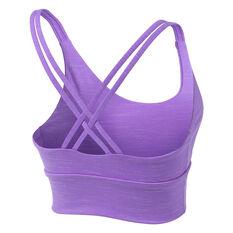 Running Bare Womens Lotus Long Line Sports Bra, Purple, rebel_hi-res