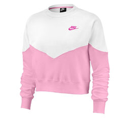 Nike Womens Heritage Fleece Sweatshirt Pink XS, Pink, rebel_hi-res