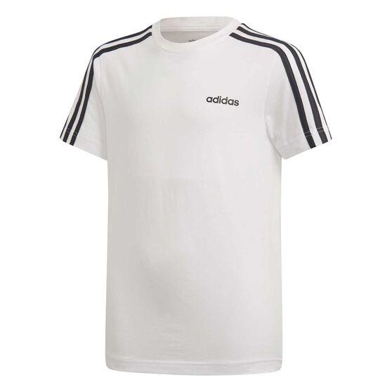adidas Boys Essential 3 Stripes Tee, White / Black, rebel_hi-res