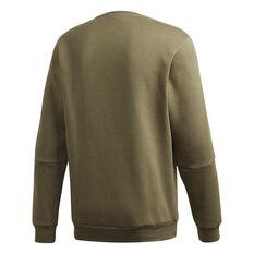 adidas Mens 3 Stripes Crew Sweatshirt Green XS, Green, rebel_hi-res