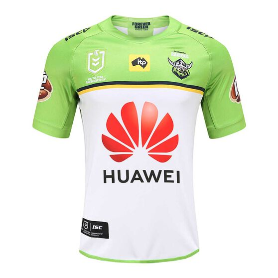 Canberra Raiders 2020 Mens Away Jersey, Green / White, rebel_hi-res