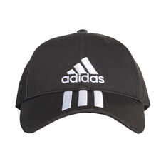 adidas Mens 3 Stripe Cotton Cap Black / White OSFA, , rebel_hi-res