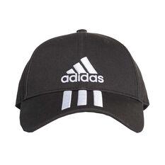 c3ce022161ea5 adidas Mens 3 Stripe Cotton Cap Black   White OSFA