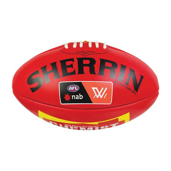 Sherrin AFLW Leather Replica Game Ball Red 4, , rebel_hi-res