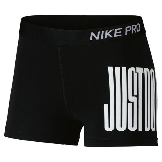 Nike Womens Pro Just Do It 3in Shorts Black / White XL, Black / White, rebel_hi-res