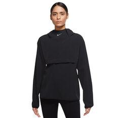 Nike Womens Dri-FIT Run Packable Pullover Jacket Black XS, Black, rebel_hi-res