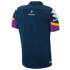 Melbourne Storm 2018 Mens Player Polo Shirt Navy / Purple S, Navy / Purple, rebel_hi-res