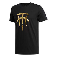 adidas Mens T MAC Logo Basketball Tee Black S, Black, rebel_hi-res