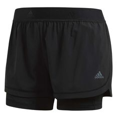 adidas Womens Two In One Shorts Black XS Adult, Black, rebel_hi-res